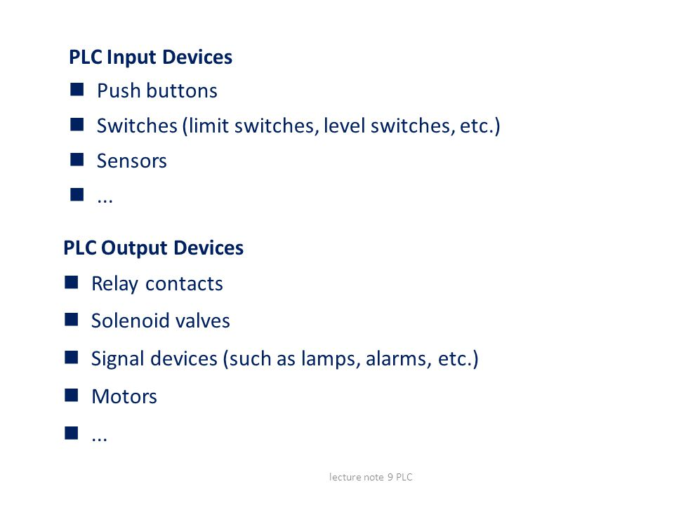 Switches (limit switches, level switches, etc.) Sensors ...