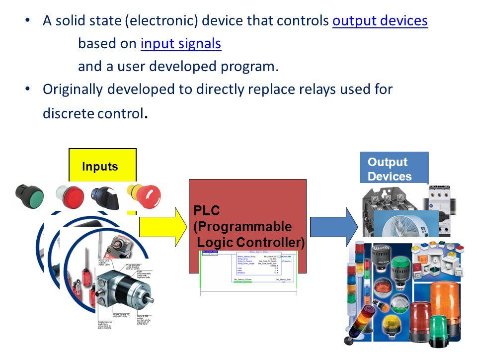 A solid state (electronic) device that controls output devices