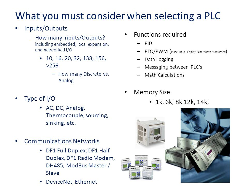 What you must consider when selecting a PLC