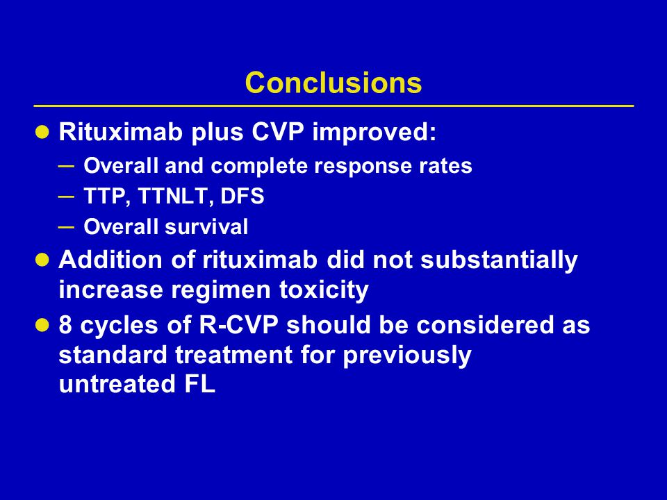 Conclusions Rituximab plus CVP improved: