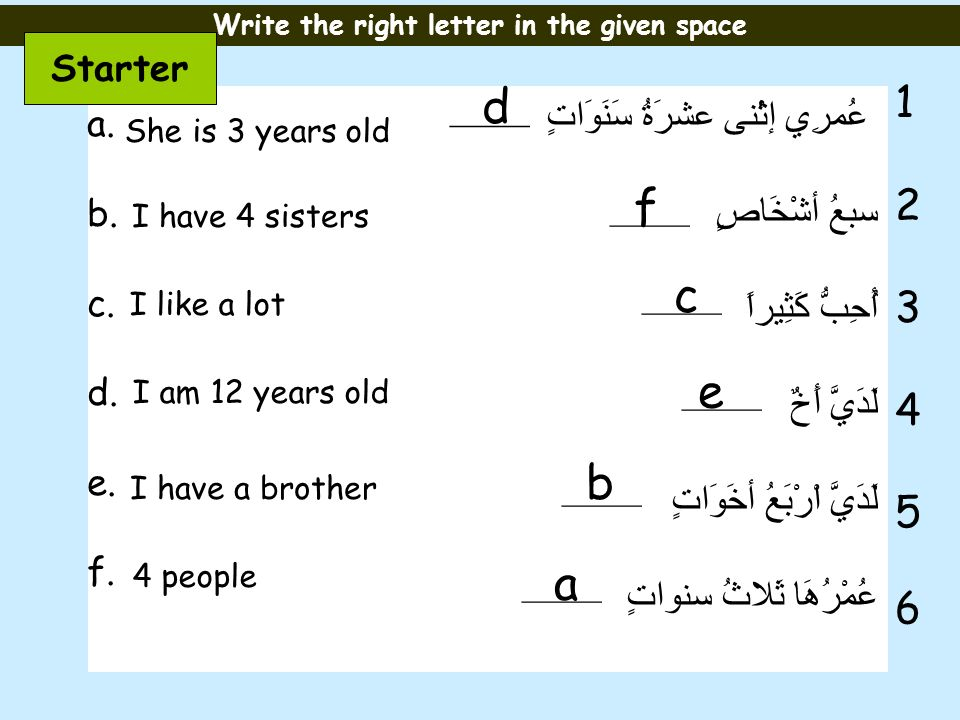 Write the right letter in the given space