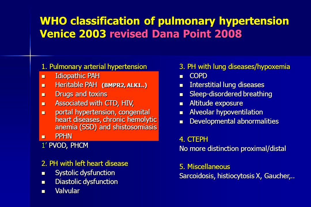 WHO classification of pulmonary hypertension Venice 2003 revised Dana Point 2008