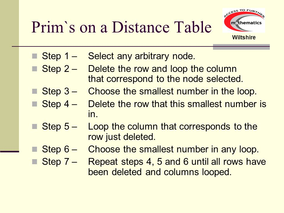 Prim`s on a Distance Table