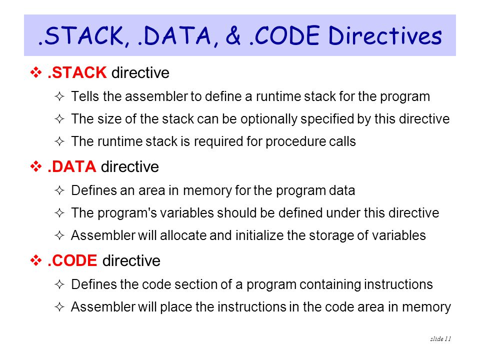 .STACK, .DATA, & .CODE Directives