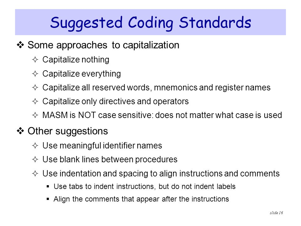 Suggested Coding Standards