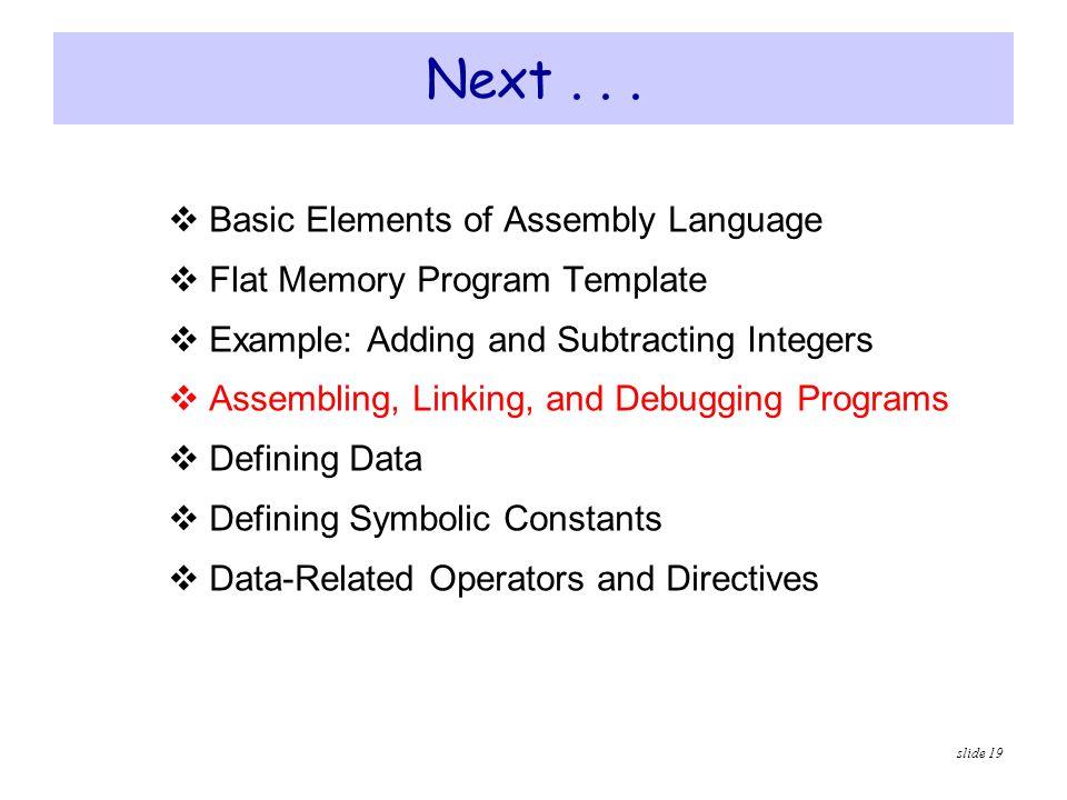 Next . . . Basic Elements of Assembly Language