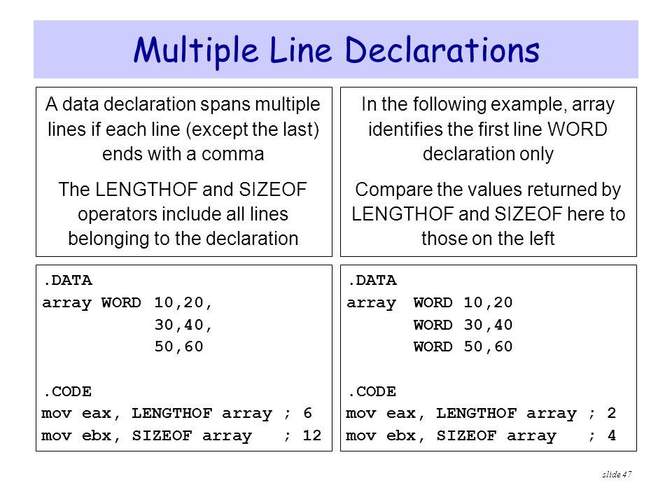 Multiple Line Declarations