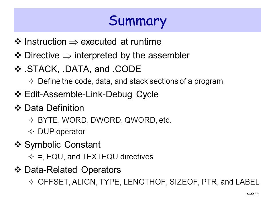 Summary Instruction  executed at runtime