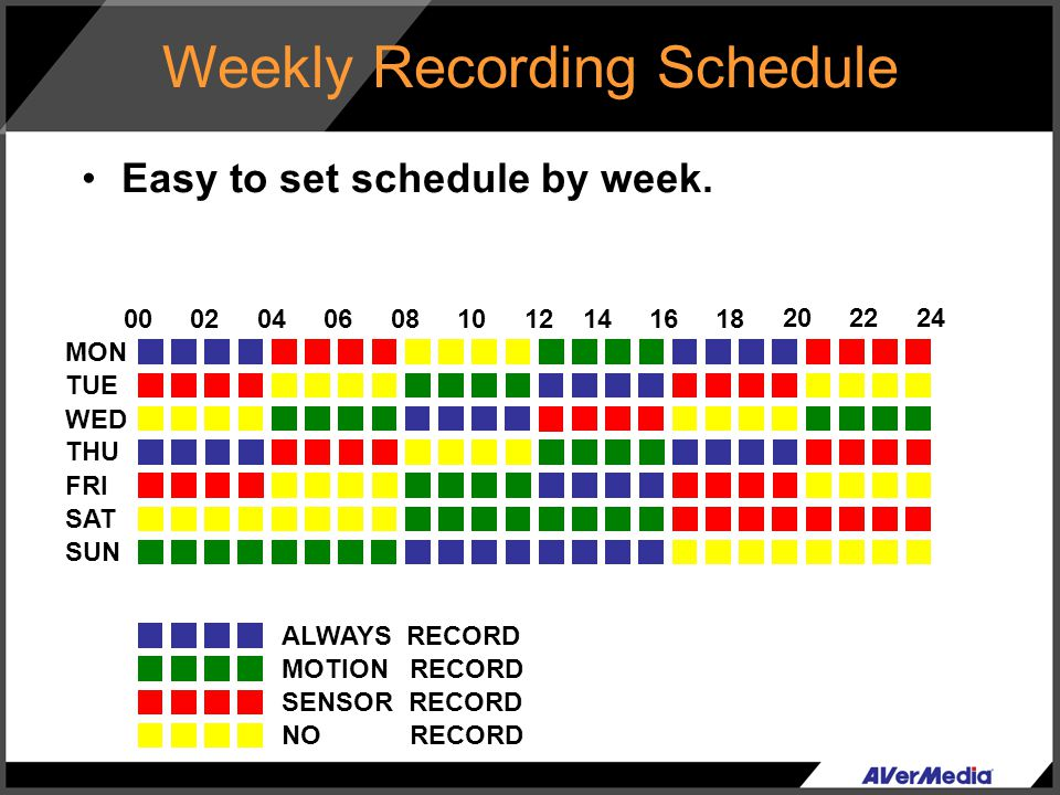 Weekly Recording Schedule