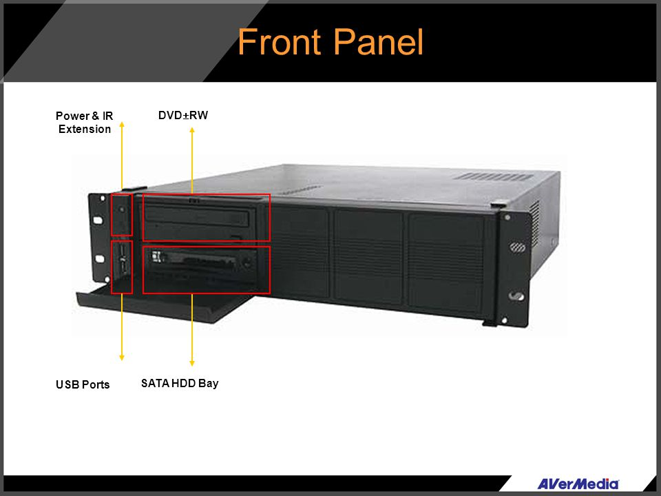Front Panel Power & IR Extension DVD±RW USB Ports SATA HDD Bay