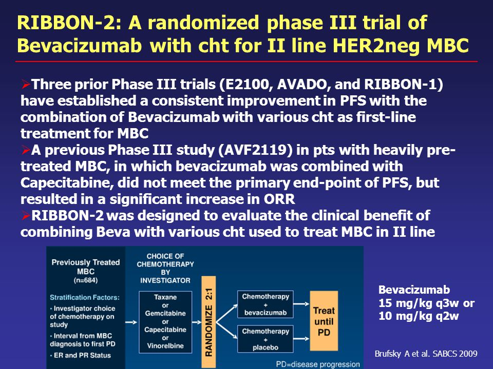 RIBBON-2: A randomized phase III trial of Bevacizumab with cht for II line HER2neg MBC