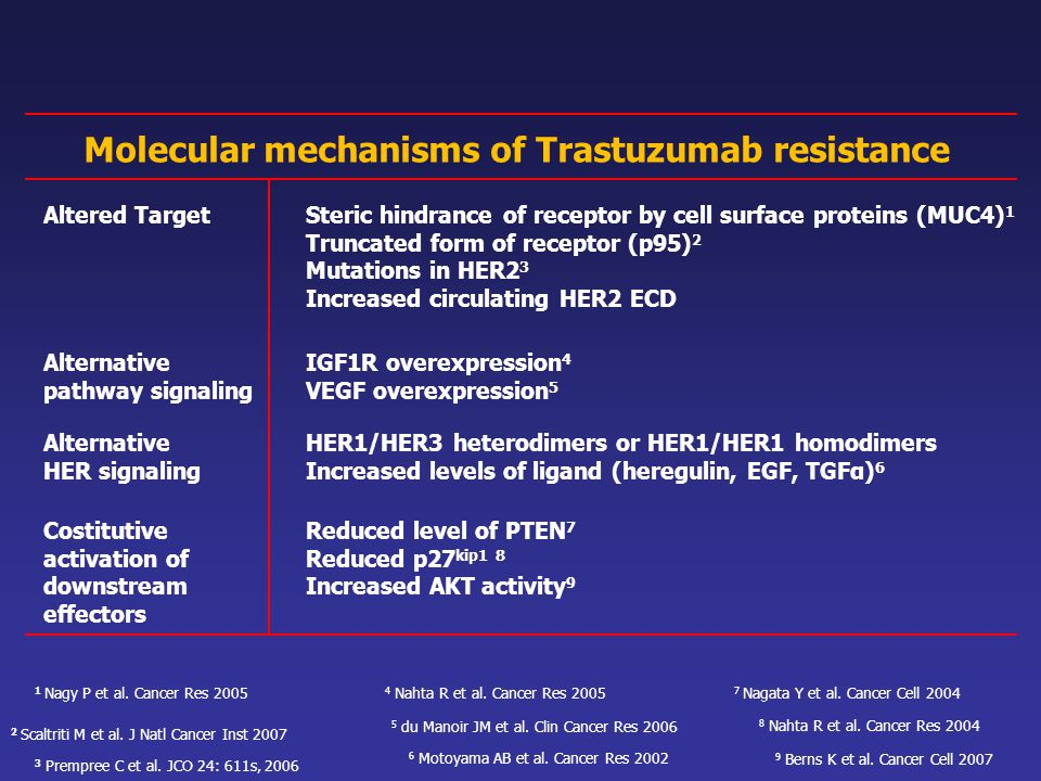 Molecular mechanisms of Trastuzumab resistance