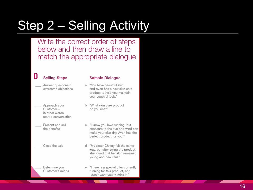 Step 2 – Selling Activity