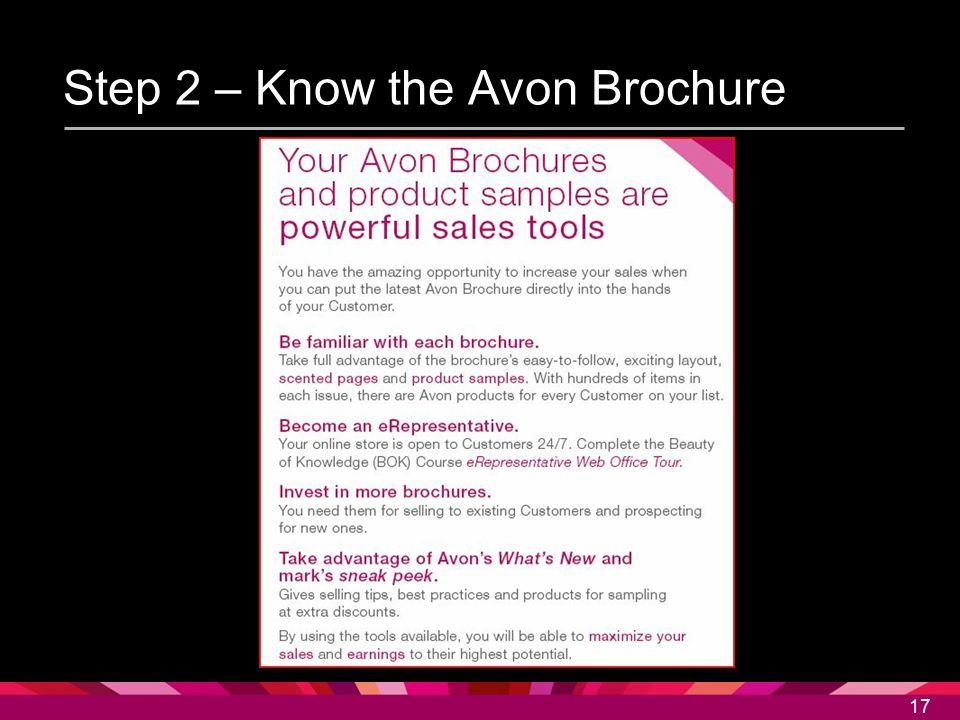 Step 2 – Know the Avon Brochure