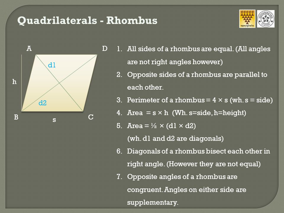 Quadrilaterals - Rhombus