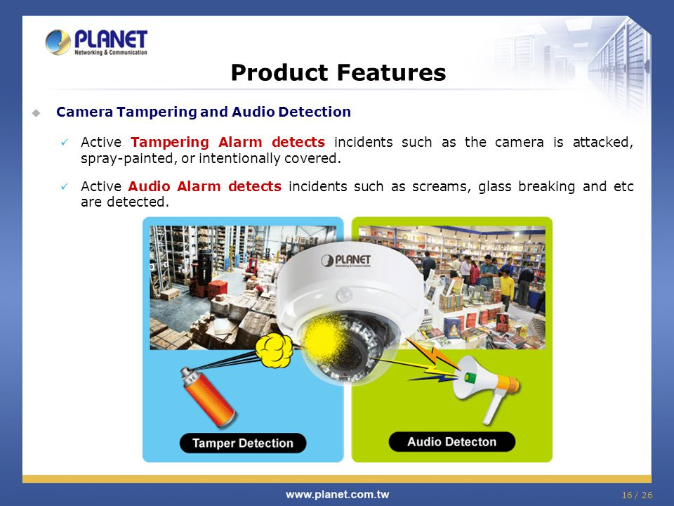 Product Features Camera Tampering and Audio Detection