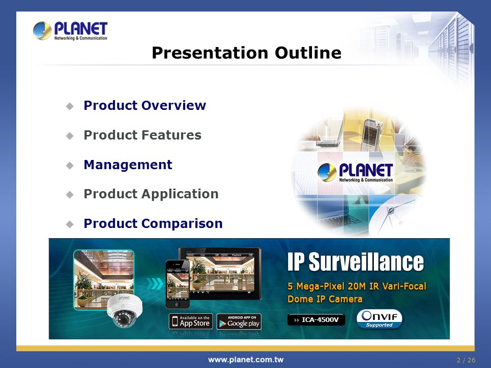 Presentation Outline Product Overview Product Features Management
