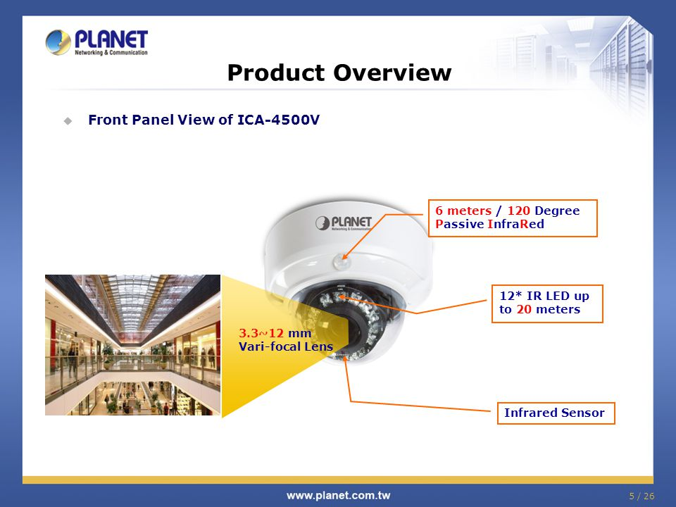 Product Overview Front Panel View of ICA-4500V