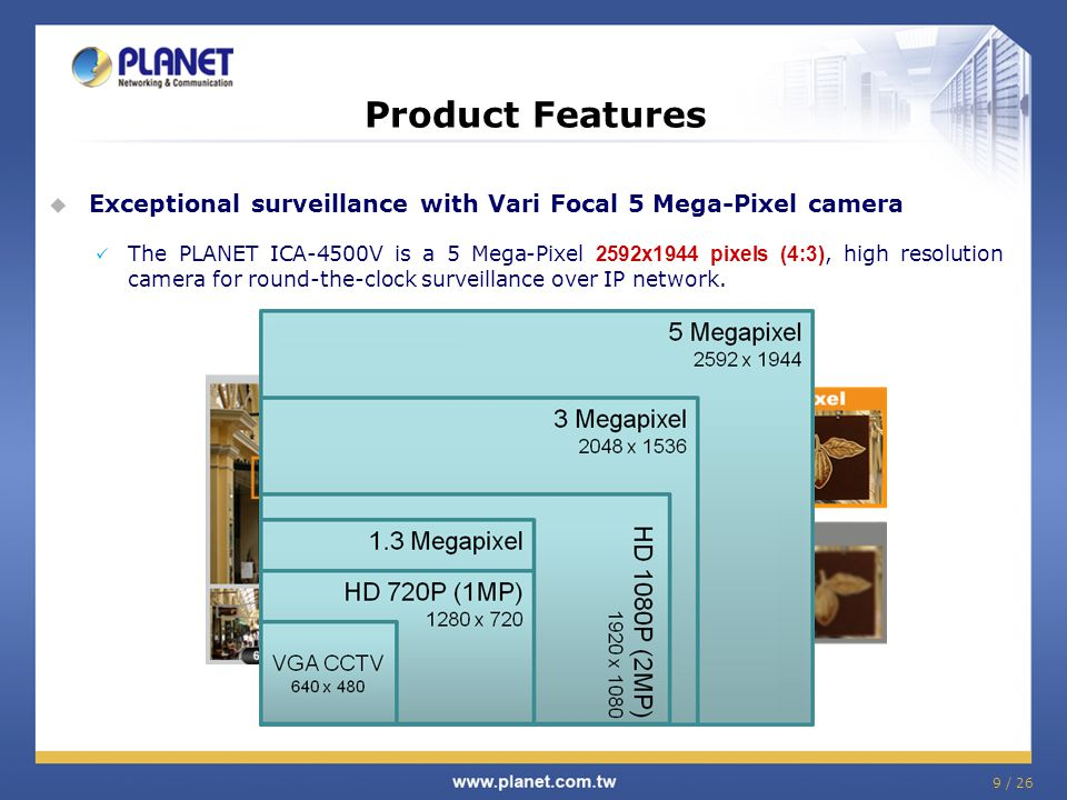 Product Features Exceptional surveillance with Vari Focal 5 Mega-Pixel camera.