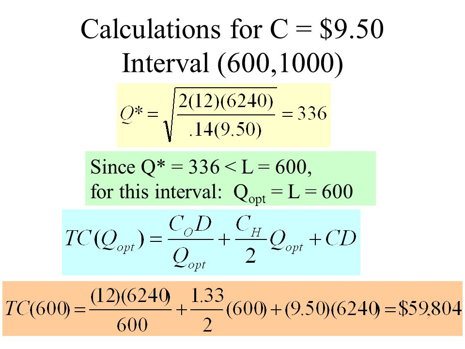 Calculations for C = $9.50 Interval (600,1000)