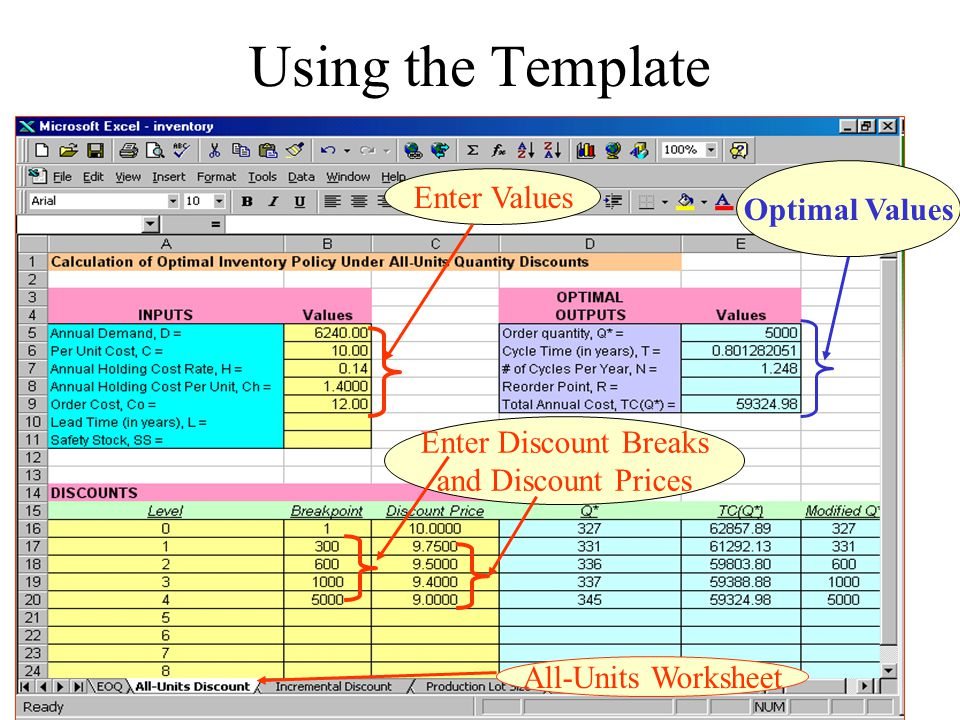 Using the Template Enter Values Optimal Values Enter Discount Breaks