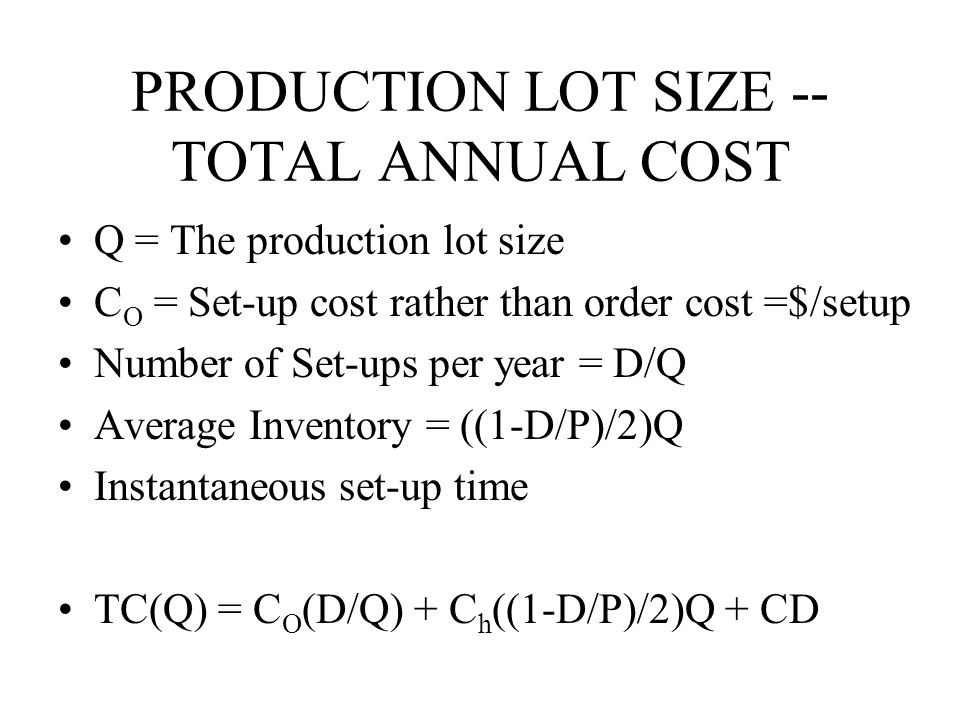 PRODUCTION LOT SIZE -- TOTAL ANNUAL COST