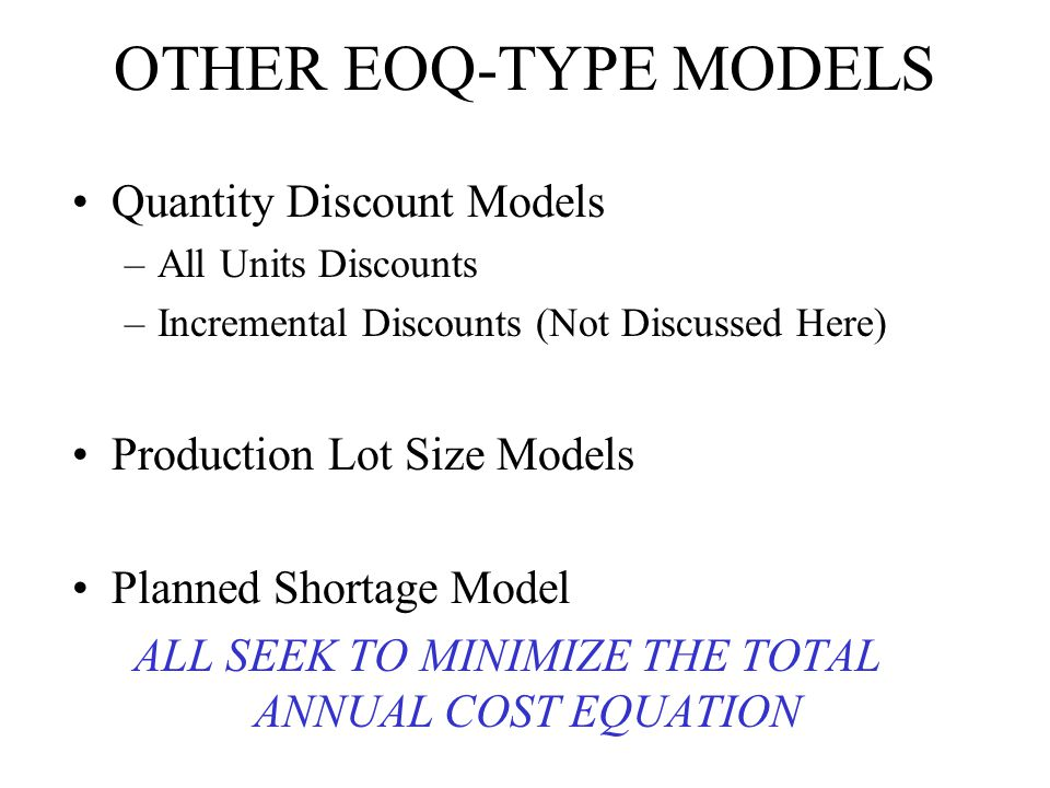 ALL SEEK TO MINIMIZE THE TOTAL ANNUAL COST EQUATION