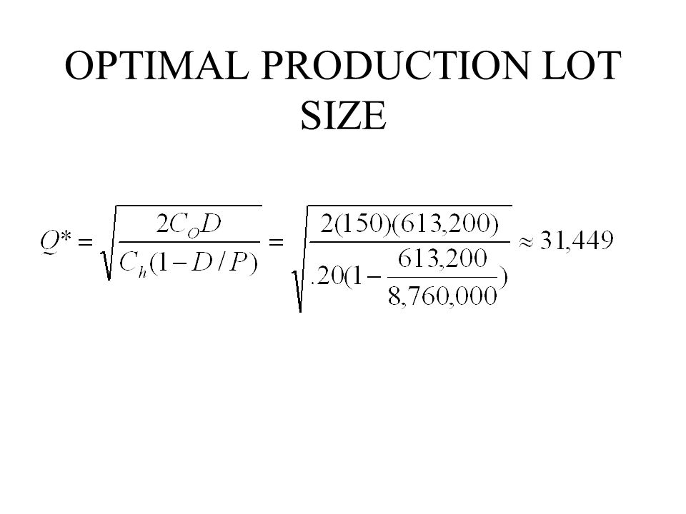 OPTIMAL PRODUCTION LOT SIZE