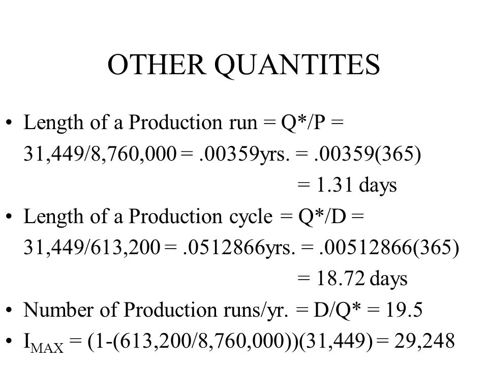 OTHER QUANTITES Length of a Production run = Q*/P =