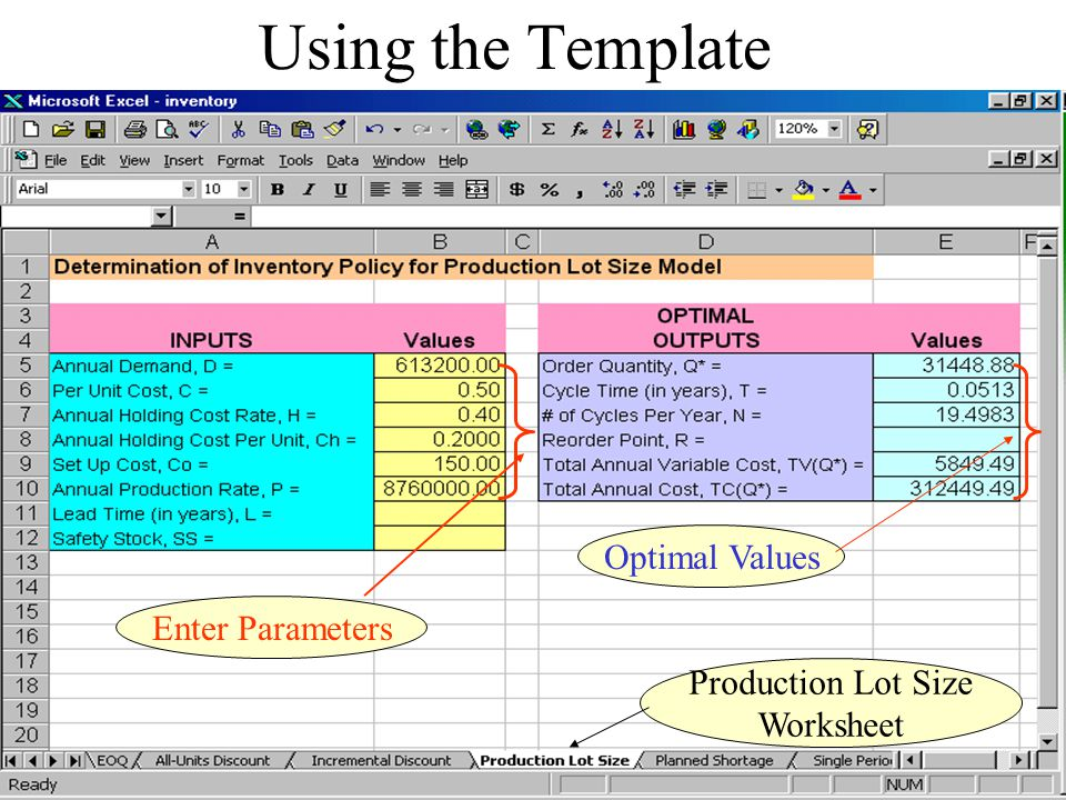 Using the Template Optimal Values Enter Parameters Production Lot Size