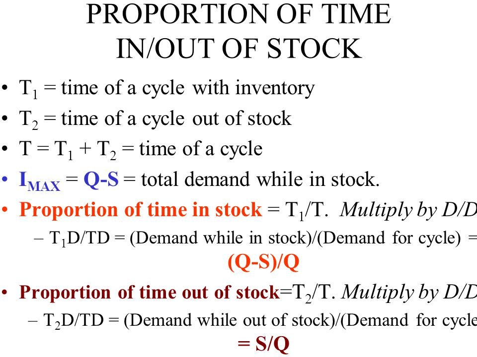 PROPORTION OF TIME IN/OUT OF STOCK