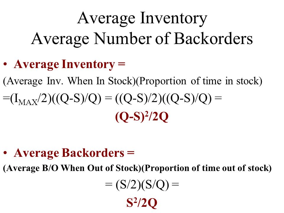 Average Inventory Average Number of Backorders