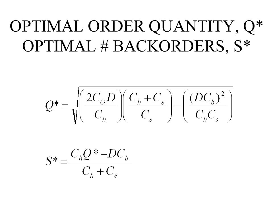 OPTIMAL ORDER QUANTITY, Q* OPTIMAL # BACKORDERS, S*