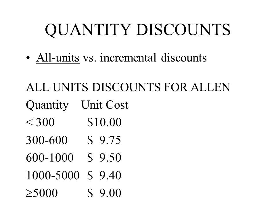 QUANTITY DISCOUNTS All-units vs. incremental discounts