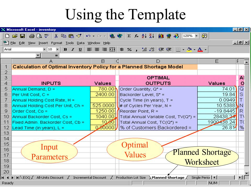 Using the Template Optimal Values Input Parameters Planned Shortage