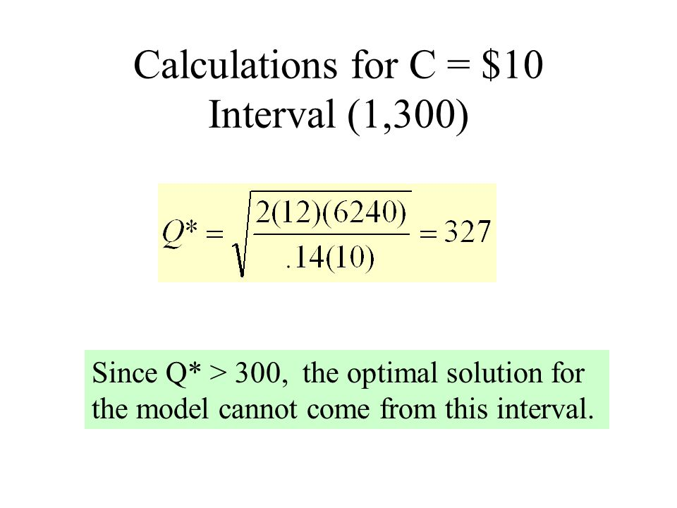 Calculations for C = $10 Interval (1,300)