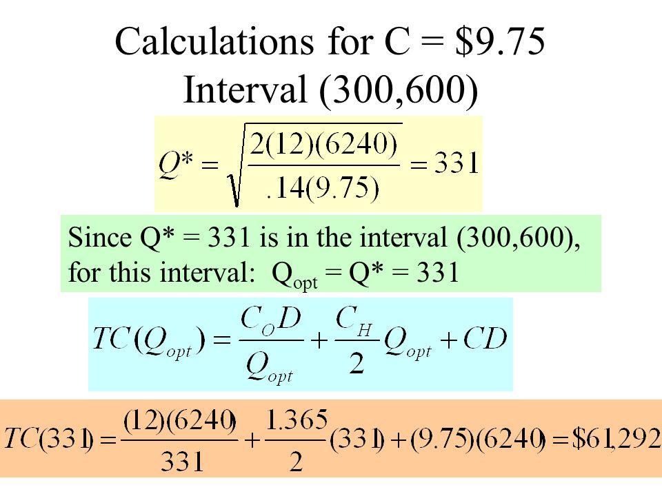Calculations for C = $9.75 Interval (300,600)