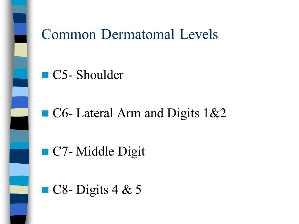 Common Dermatomal Levels