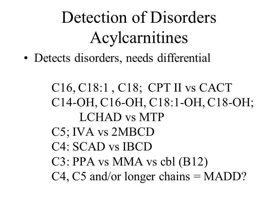 Detection of Disorders Acylcarnitines