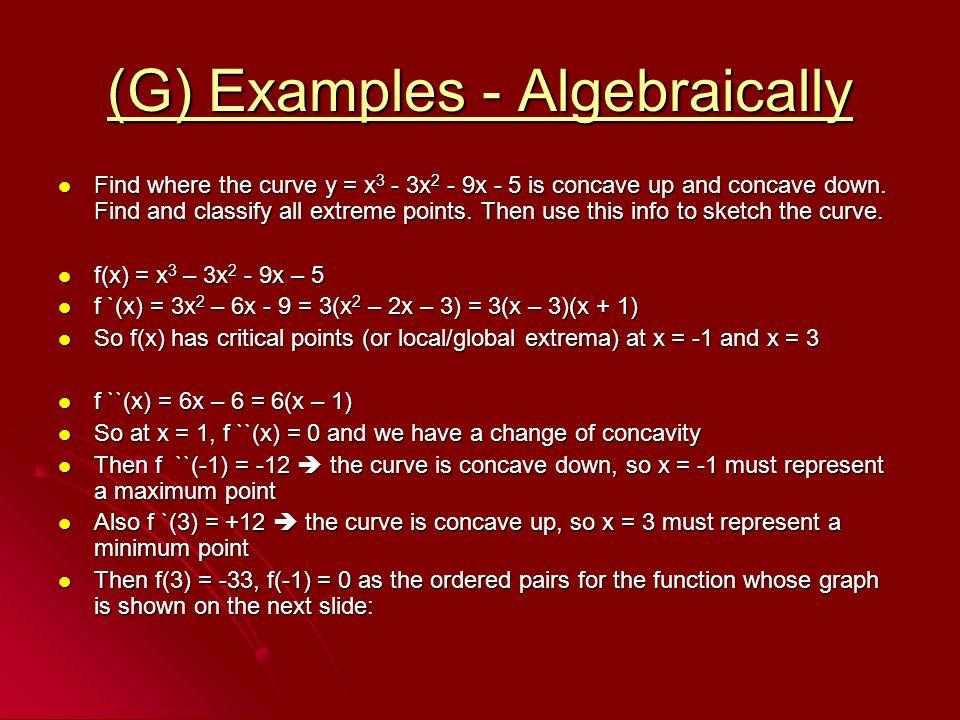 (G) Examples - Algebraically