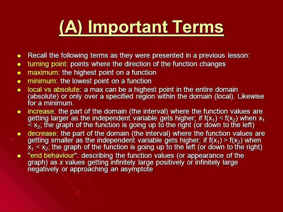 (A) Important Terms Recall the following terms as they were presented in a previous lesson: