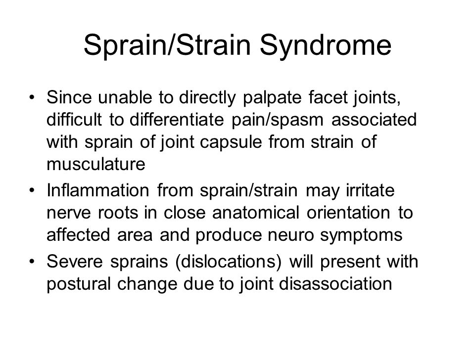 Sprain/Strain Syndrome