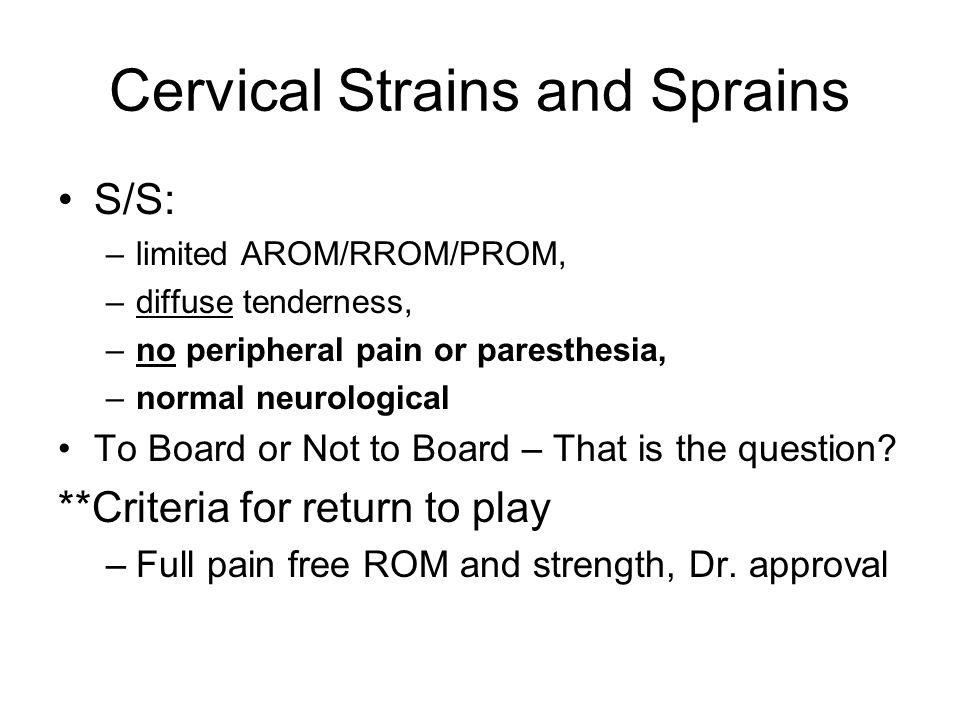 Cervical Strains and Sprains