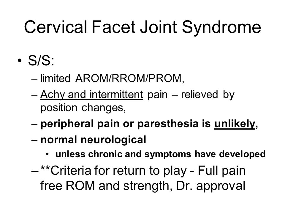 Cervical Facet Joint Syndrome