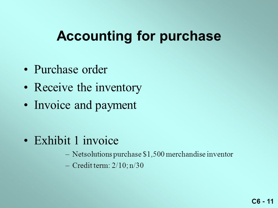 Accounting for purchase