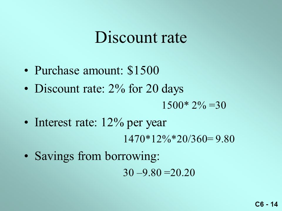 Discount rate Purchase amount: $1500 Discount rate: 2% for 20 days