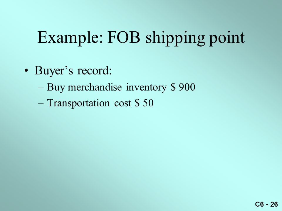 Example: FOB shipping point