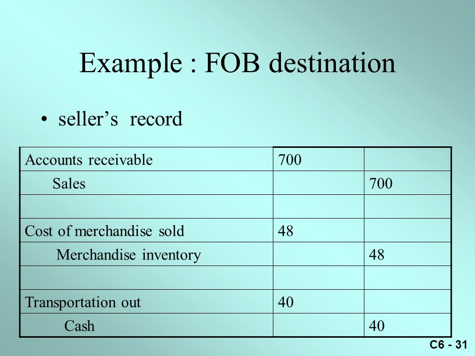 Example : FOB destination