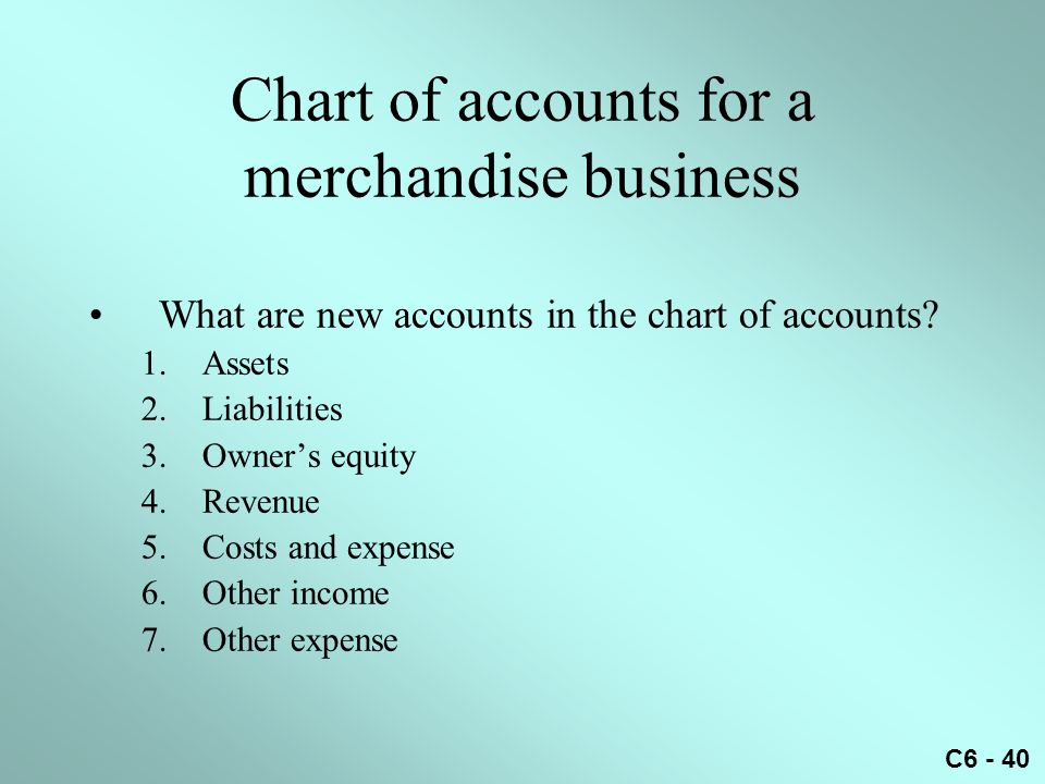 Chart of accounts for a merchandise business