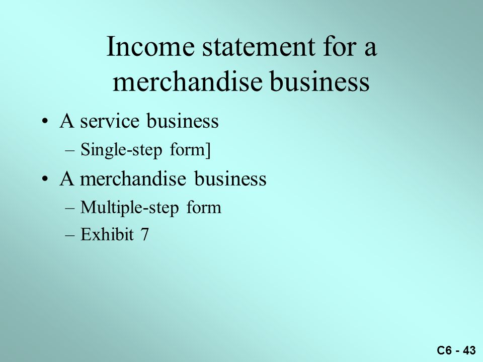Income statement for a merchandise business